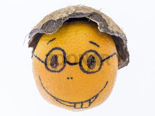 Orange mit einem Lächeln - guter Laune, Spass und Freude