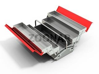 3d metallic empty toolbox