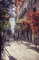 MADRID, SPAIN - APRIL 26: Old narrow street with few cafe in April 26, 2013 in Madrid, Spain. It is old centre of capital city