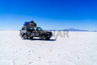 Car in the Salar de Uyuni
