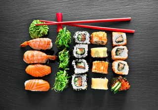 Sushi set and chopsticks
