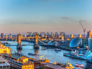 Aerial River Thames and London Bridge