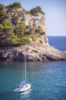 A ship in Cala Galdana, Menorca, Spain