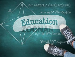 Education against green chalkboard