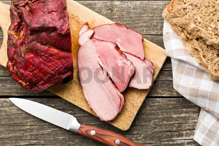 sliced smoked pork meat