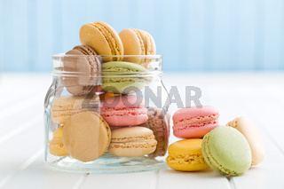 sweet french macarons in jar