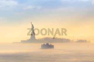 Staten Island Ferry cruises past Statue of Liberty.