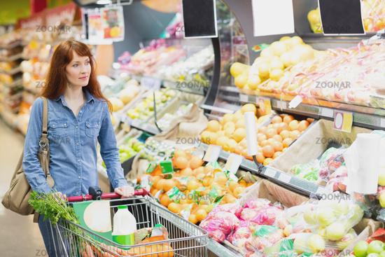 Customer walking around the supermarket