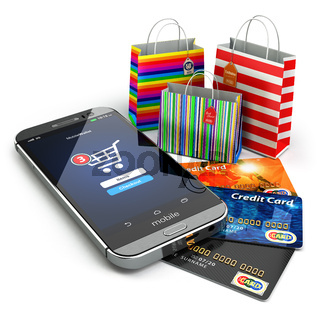 E-commerce. Online internet shopping. Mobile phone, shopping bags and credirt cards.