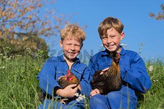Farm Boys with chickens