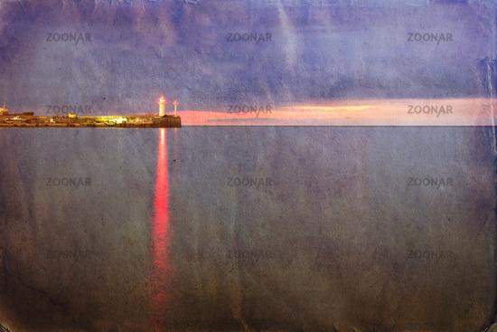 Retro style image of lighthouse