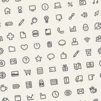 Light Tilted Seamless Pattern with Universal Web Icons