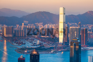 Abstract futuristic cityscape. Hong Kong aerial view