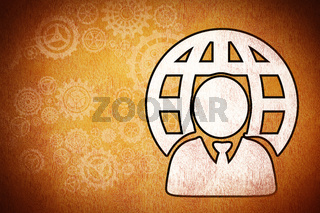 Composite image of businessman and sphere