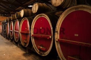 Wine Barrels in Storage