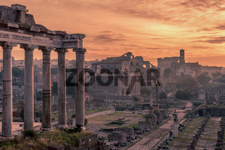 Rome, Italy: The Roman Forum; Latin: Forum Romanum; Italian: Foro Romano, in the sunrise