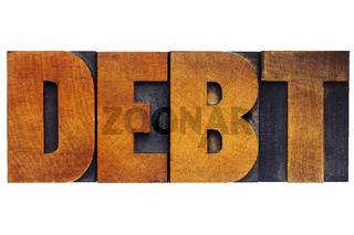 debt word in wood type