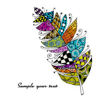 Art feather, zentangle style for your design