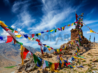 Buddhist prayer flags in Himalayas