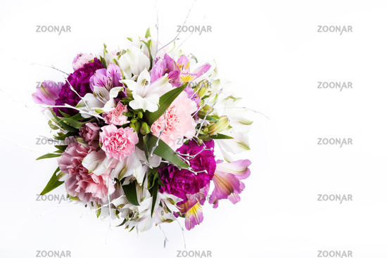 Bouquet from pink and purple gillyflowers