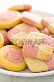 colored butter biscuits