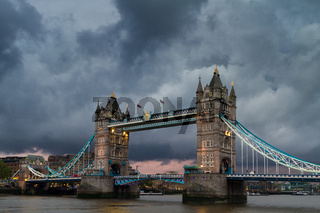Dark clouds over the Tower Bridge