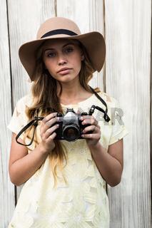 Calm young woman posing