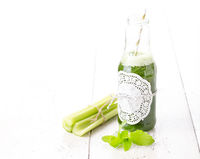 Healthy green smoothie drink with celery