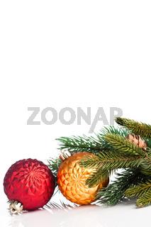 Christmas ball with green fir