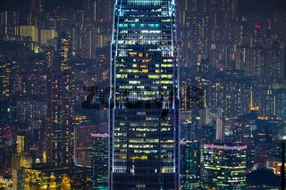 Abstract futuristic night cityscape. Hong Kong