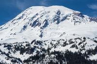 View of Mount Rainier summit covered by snow Washington USA