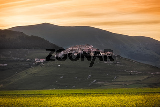 Castelluccio di Norcia at sunset, Umbria, Italy