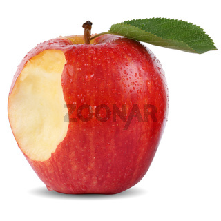 Angebissener Roter Apfel Frucht mit Biss Freisteller