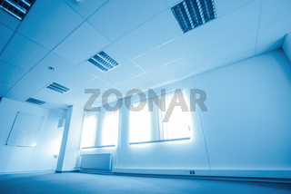 Empty office in blue colors