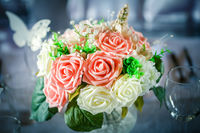Just married bouquet on blurred gray background