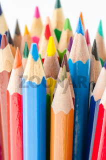 Close up of color pencils with different color.