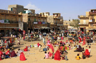 Local people shopping at market plaza in Jaisalmer, India