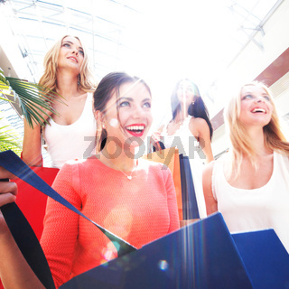 women shopping at mall