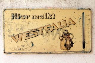 Reklame Blech Schild Westfalia