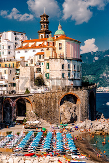 Picturesque beach in Atrani village, Amalfi Coast