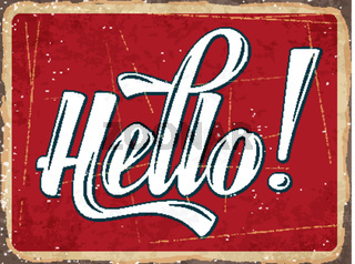 Retro metal sign ' Hello'