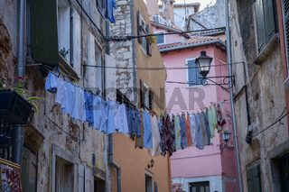 Laundry hanging on the street