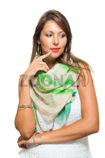 Pensive Stylish Pretty Woman Touching her Face