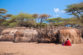 Maasai huts in their village in Tanzania, Africa