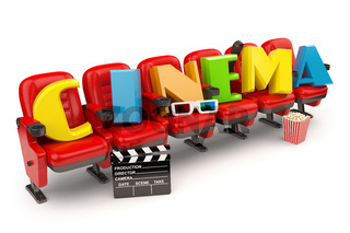 Cinema, movie or video concept. Row of seats with popcorm, glasses and clapper board  isolated on white.