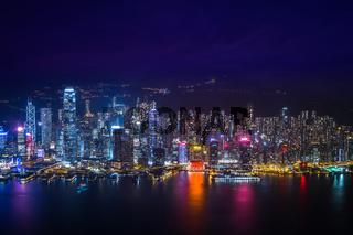 Hong Kong skyline night panorama