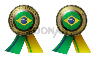 Set of 2 Brazil seals Made in message and blank