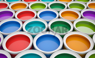 Colorful tins of paint for the background.
