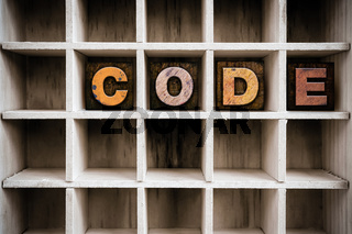 Code Concept Wooden Letterpress Type in Draw