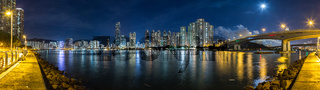 Panorama of residential area and TsingTsuen bridge in Kowloon Hong Kong